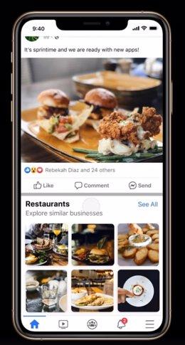 Interfaz de la nueva herramienta de Facebook
