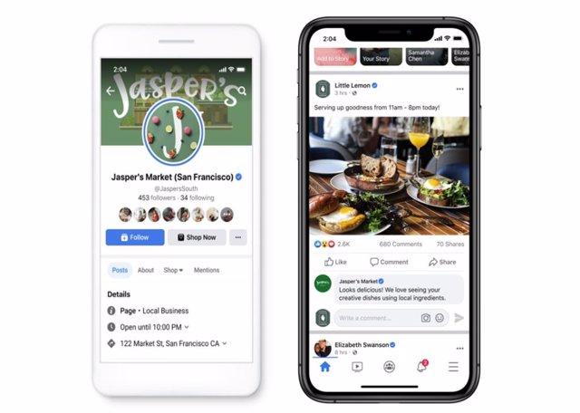 Interfaz de un negocio y el 'feed' de noticias de Facebook