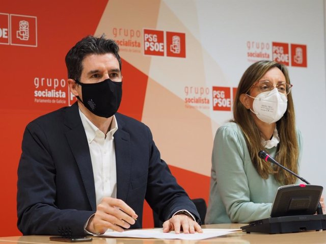 El vicesecretario xeral del PSdeG, Pablo Arangüena, y la diputada Paloma Castro