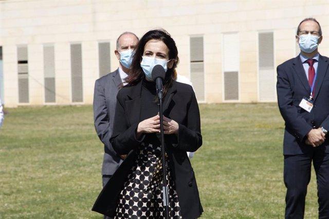 La secretaria de Estado de Sanidad, Silvia Calzón, atendiendo a los medios desde el Hospital Son Llàtzer.
