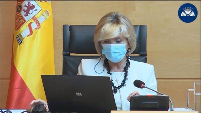 La consejera de Sanidad de Castilla y León, Verónica Casado, durante su comparecencia ante la Comisión de Sanidad en las Cortes.