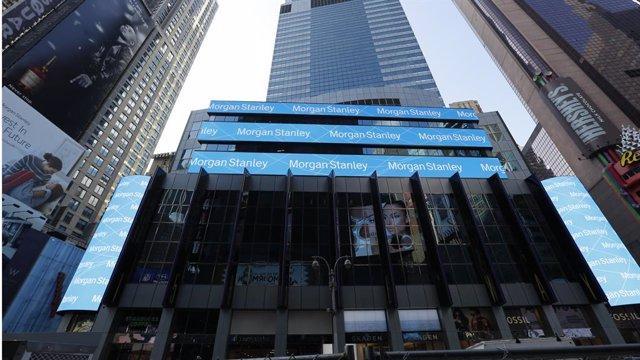 Archivo - Logo de Morgan Stanley en Nueva York.