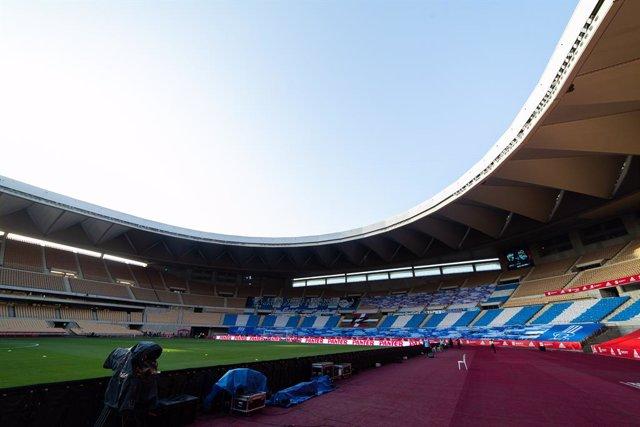 Detail of stadium during Copa Del Rey Final match between Real Sociedad and Athletic Club at Estadio de La Cartuja on April 03, 2021 in Seville, Spain.