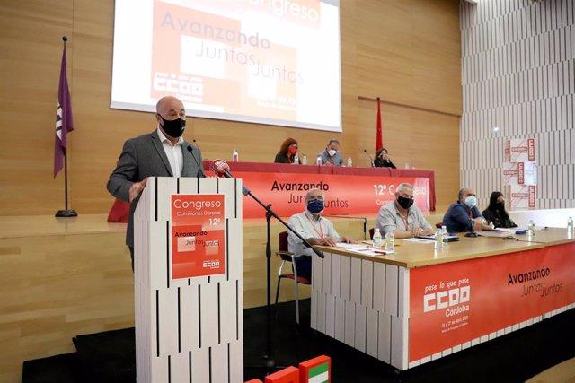 El presidente de la Diputación de Córdoba, Antonio Ruiz, interviene en la celebración del congreso de CCOO.