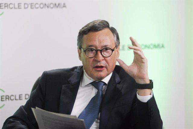 Archivo - El presidente de Agbar y de la Comisión Green Deal, Ángel Simón, este viernes en el Círculo de Economía en Barcelona