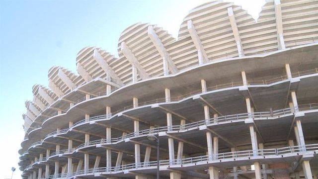 Archivo - Arxiu - Imatge de les obres inacabades del nou Mestalla.