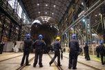 Imagen del submarino S-81 en los astilleros de Nav