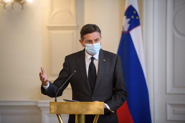 Archivo - 05 March 2021, Bosnia-Herzegovina, Sarajevo: Slovenian President Borut Pahor speaks during a joint press conference with President of Bosnia and Herzegovina Milorad Dodik following their meeting. Photo: Nebojsa Tejic/STA/dpa