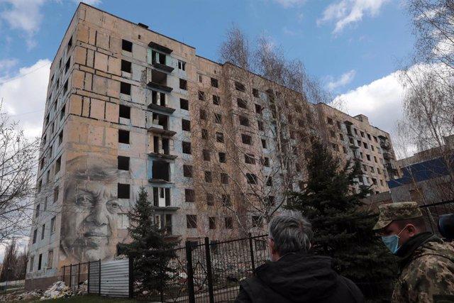 Mural en un edificio de Donetsk
