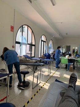 Donación de sangre en la residencia universitaria Hernán Cortés.