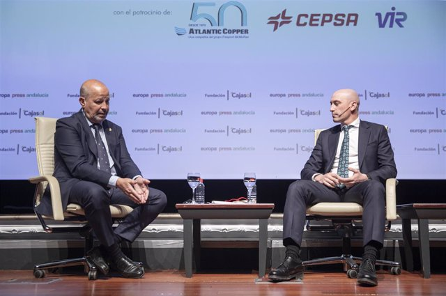 Luis Rubiales i Javier Imbroda, en les trobades informatives d'Europa Press Andalusia