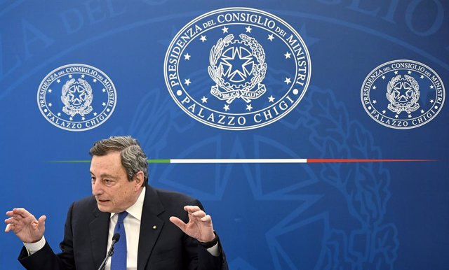 08 April 2021, Italy, Rome: Italian Prime Minister Mario Draghi speaks during a press conference on the vaccination plan to fight COVID-19 pandemic. Photo: Riccardo Antimiani/Pool Ansa via LaPresse via ZUMA Press/dpa