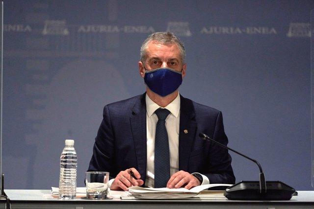 El Lehendakari, Iñigo Urkullu, preside la reunión del comité asesor del Plan de Protección Civil de Euskadi (LABI), en Vitoria, Álava, Euskadi (España), a 26 de marzo de 2021.