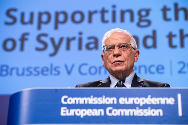 HANDOUT - 30 March 2021, Belgium, Brussels: European Union High Representative for Foreign Affairs Josep Borrell speaks during the second day of the fifth Brussels Conference on 'Supporting the future of Syria and the region'. Photo: Lukasz Kobus/European