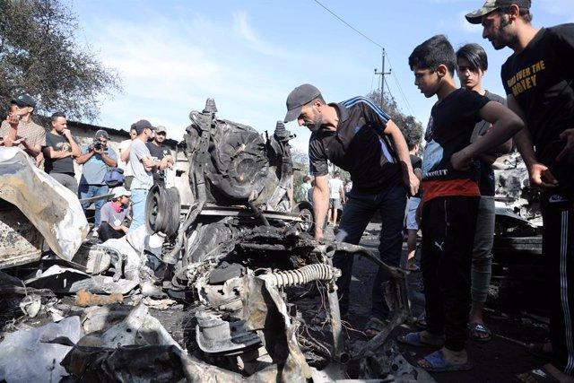 Atentando con coche bomba de Estado Islámico en Bagdad (Irak).