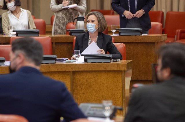 La portavoz del PP en el Congreso de los Diputados, Cuca Gamarra, durante una Junta de Portavoces en el Congreso