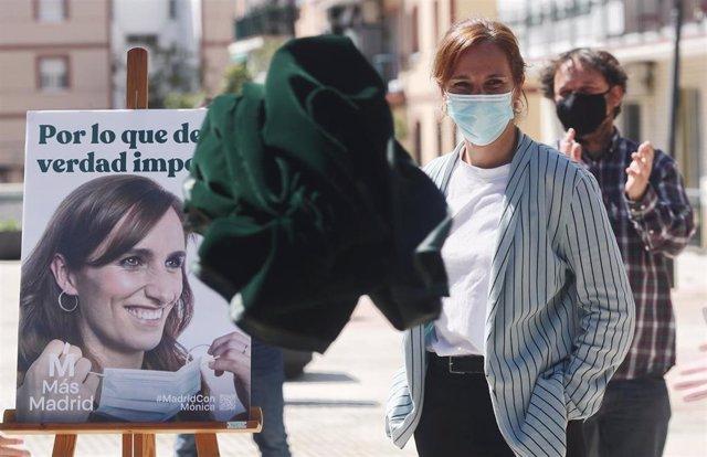 La candidata de Más Madrid a la Presidencia de la Comunidad de Madrid, Mónica García, durante un acto del partido en Alcorcón