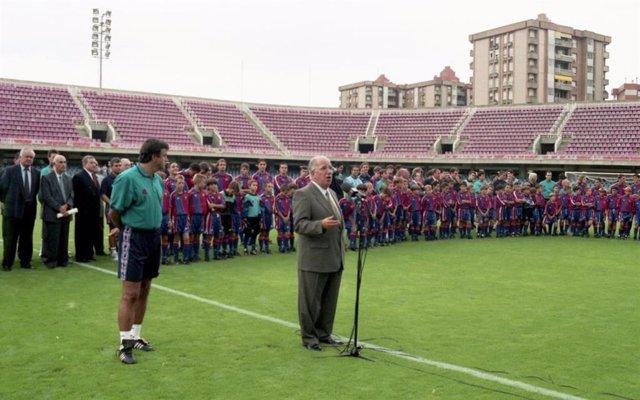 L'ex-vicepresident del FC Barcelona Josep Mussons en una imatge d'arxiu al Miniestadi