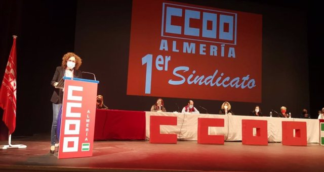 La secretaria general de CCOO de Andalucía, Nuria López, este sábado durante su intervención en el congreso de CCOO de Almería.