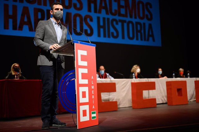 El alcalde de Almería, Ramón Fernández-Pacheco, este sábado en el congreso provincial de CCOO.