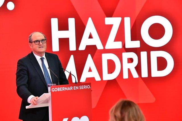 El candidato del PSOE a la Presidencia de la Comunidad de Madrid, Ángel Gabilondo durante la presentación de la campaña, 'Hazlo por Madrid', en la sede de Ferraz.