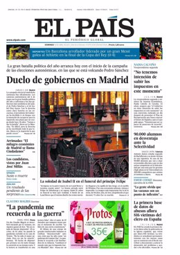 Portada de El País el 18 de abril de 2021.