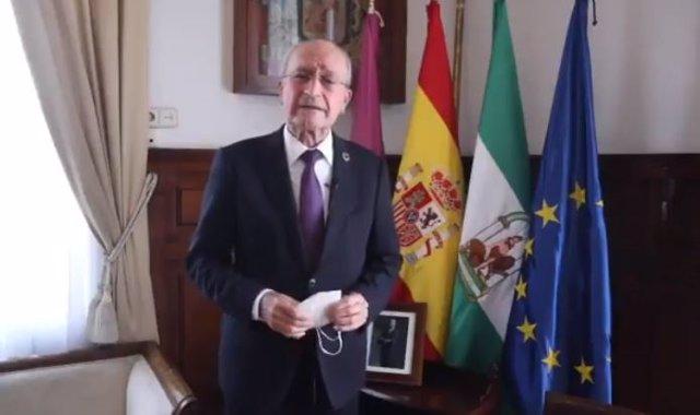 El alcalde de Málaga, Francisco de la Torre, lanza un mensaje a través de un vídeo