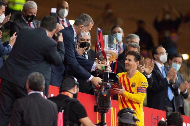 Lionel Messi of Barcelona during Copa Del Rei Final match between Athletic Club and Futbol Club Barcelona at Estadi de la Cartoixa on April 17, 2021 in Seville, Spain.