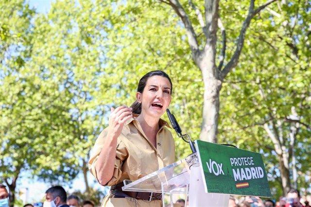 La candidata de Vox a la Presidencia de la Comunidad de Madrid, Rocío Monasterio, durante un acto previo a las elecciones en Boadilla del Monte.