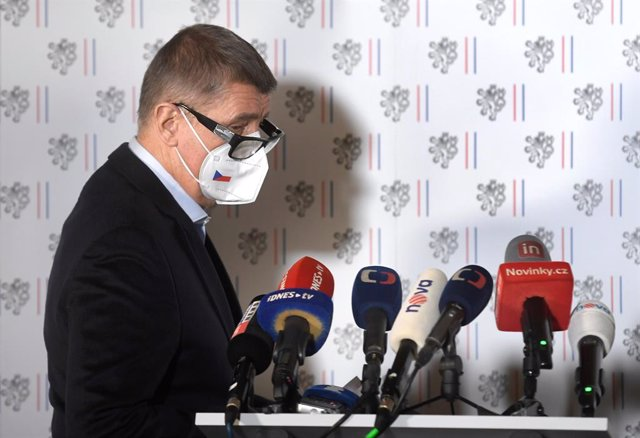 17 April 2021, Czech Republic, Prague: Czech Prime Minister Andrej Babis arrives at a joint press conference with Jan Hamacek, First Deputy Prime Minister and Interior Minister, on the expulsion of 18 Russian diplomats. Photo: íhová Michaela/CTK/dpa