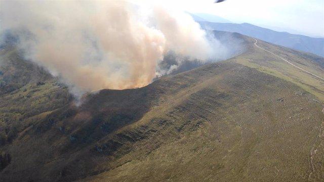 Incendio forestal en Bárcena de Pie de Concha