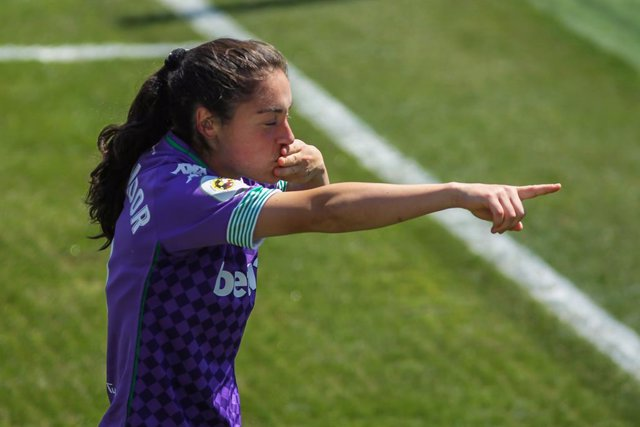 Aixa Salvador Garcia of Real Betis celebrates a goal during the Primera Iberdrola women football match between Real Madrid Femenino and Real Betis Balompi Femenino at Ciudad Real Madrid on April 18, 2021 in Madrid, Spain.