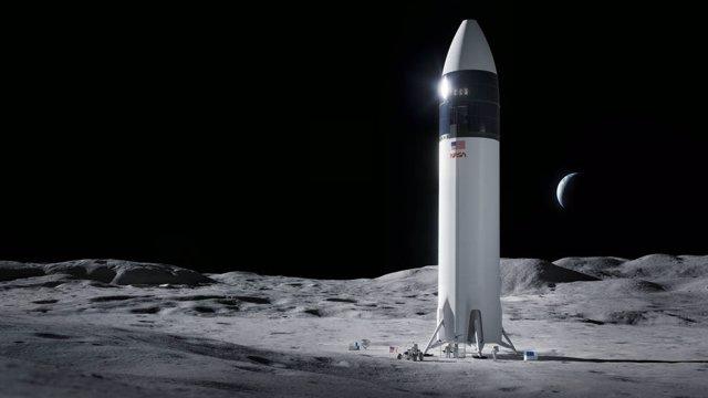 Ilustración del diseño del módulo de aterrizaje humano SpaceX Starship que llevará a los primeros astronautas de la NASA a la superficie de la Luna bajo el programa Artemisa.