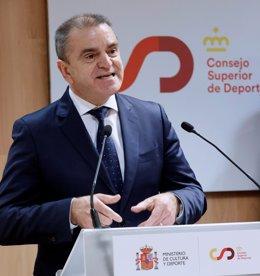 El nuevo presidente del Consejo Superior de Deportes (CSD), José Manuel Franco, en su toma de posesión en la sede del CSD.