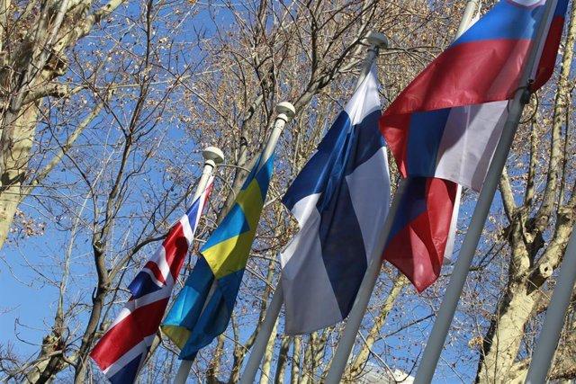 Archivo - Bandera de Reino Unido, Suecia, Finlandia, Rusia