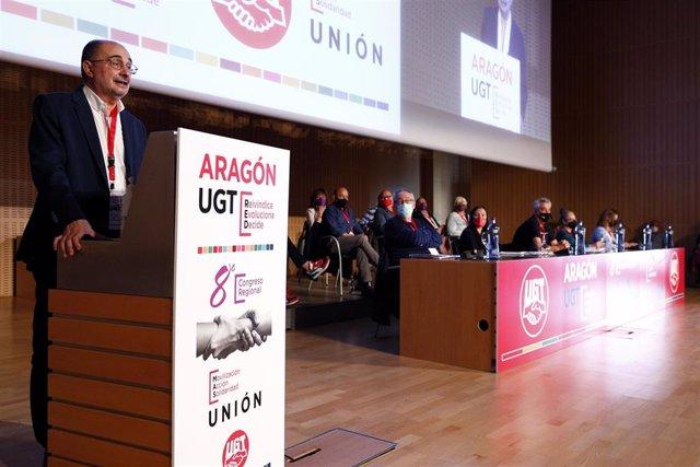 El presidente de Aragón durante su intervención en el Congreso de UGT Aragón.