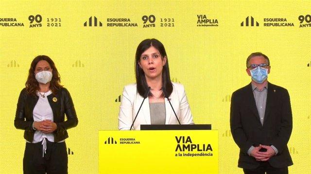 Laura Vilagrà, Marta Vilalta y Josep Maria Jové (ERC) en rueda de prensa telemática.