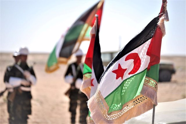Archivo - Banderas de la autoproclamada República Árabe Saharaui Democrática (RASD)
