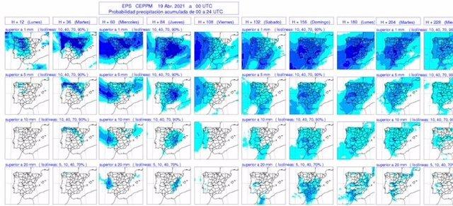 Mapas elaborados por la Aemet sobre la previsión de chubascos generalizados en CyL