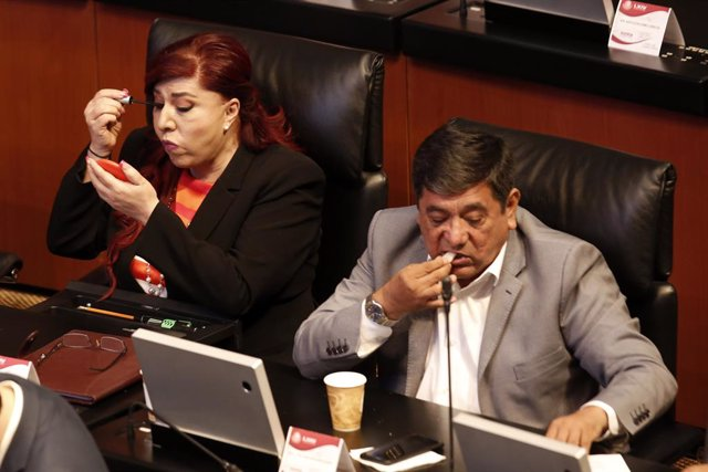 Archivo - 27 March 2019, Mexico, Mexico City: Mexican Senators Maria Soledad Luevano (L) and Felix Salgado attend a plenary session of Mexico's Senate in the Upper House. Photo: Agustin Salinas/El Universal via ZUMA Wire/dpa