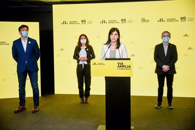 Sergi Sabrià, Laura Vilagrà, Marta Vilalta y Josep Maria Jové (ERC) en rueda de prensa telemática.