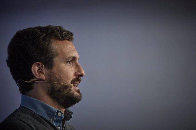 El presidente del Partido Popular, Pablo Casado participa en el XV Congreso Nacional de Nuevas Generaciones del PP en Espacio Jorge, a 10 de abril de 2021, en Madrid (España).