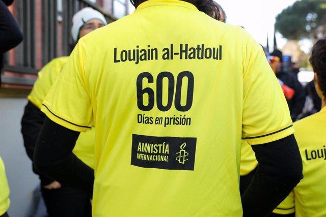 Archivo - Campaña de Amnistía Internacional a favor de la liberación de la activista saudí Lujain al Hazlul