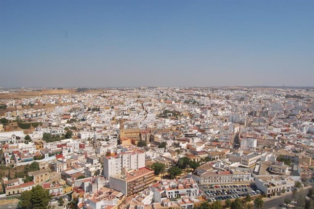 Vista aérea de Alcalá de Gudaíra (Sevilla).