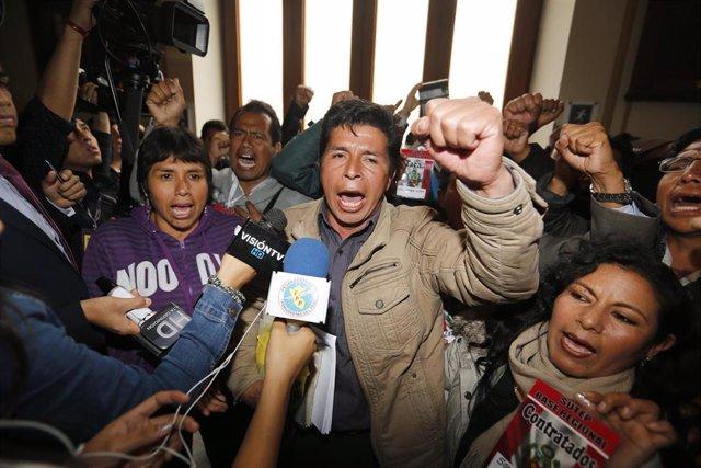El candidato presidencial peruano Pedro Castillo