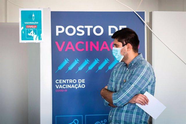 Centro de vacunación en Matosinhos, Portugal.