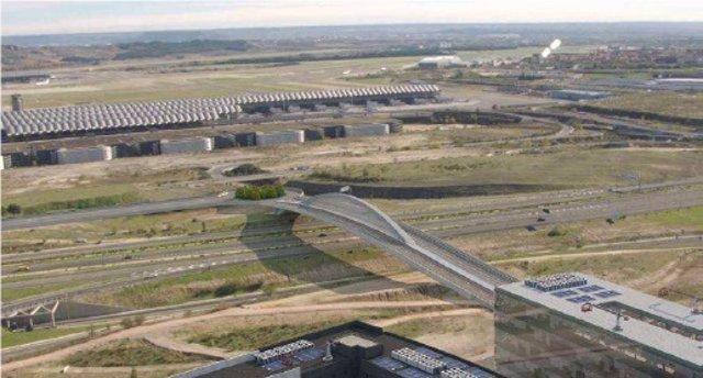 El puente que conectará el desarrollo de Valdebebas con la Terminal 4 del aeropuerto Adolfo Suárez Madrid Madrid-Barajas, que llevará por nombre el 'Puente de la Concordia'