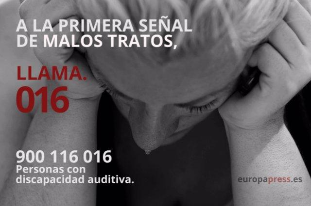 Archivo - Violencia de género, teléfono 016