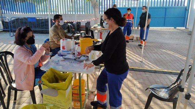 Vacunación en el estadio municipal Francisco Bonet