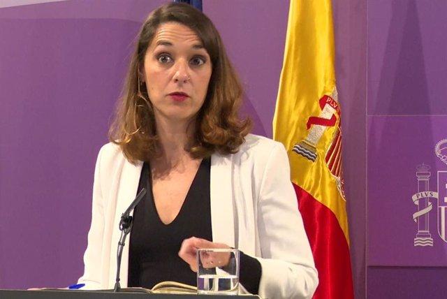 Archivo - La secretaria de Estado de Igualdad, Noelia Vera, durante una rueda de prensa